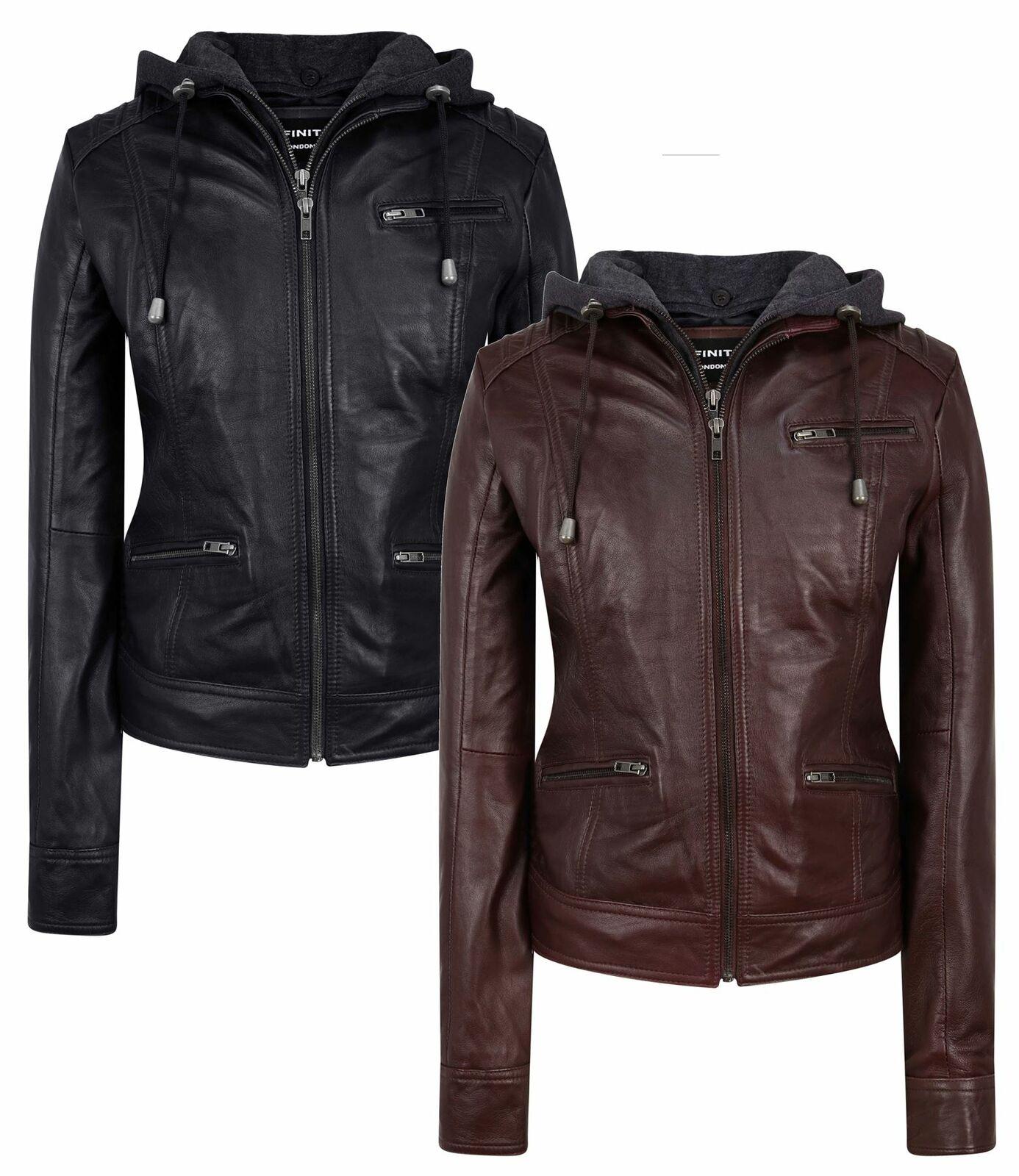 Ladies Real Leather Jacket Biker Hood Casual Tailored Fit Soft Napa Black Brown