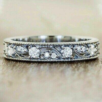 Round Cut Diamond Vintage Wedding Band