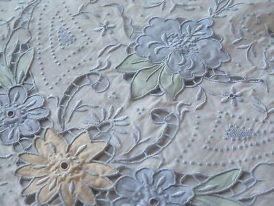 Vtg Antique Madeira Embroidered Color Cutwork Sheet Pillowcase Set NWT Clean