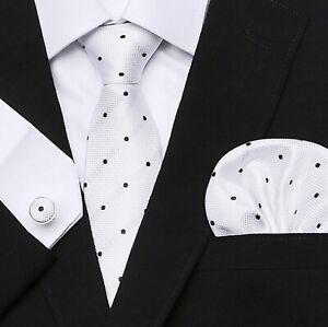 Set-Cravate-8cm-100-Soie-Blanc-Points-Noirs-Bouton-Manchette-Mouchoir-Elegant-FR