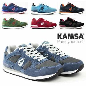 Scarpe da Uomo Donna KAMSA Sneakers in Vera Pelle Sportive Ginnastica Casual 36+