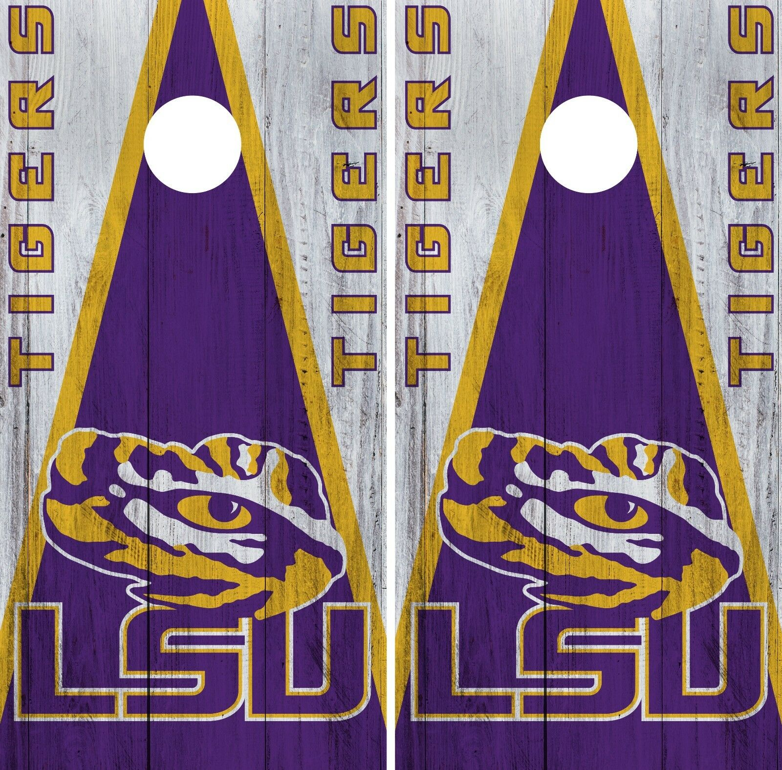 LSU Tigers Cornhole Wrap NCAA College Game  Skin Vinyl Logo Decal Set CO805  best price