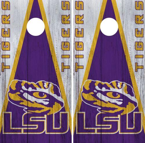 LSU Tigers Cornhole Wrap NCAA College Game Skin Vinyl Logo Decal Set CO805
