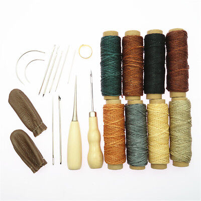 ilauke Leather Sewing Kit 31 Pcs Leather Working Tools Upholstery Repair Kit with Waxed Thread Leather Stitching Kit for DIY//Beginner Leather Sewing//Shoe Repair Kit