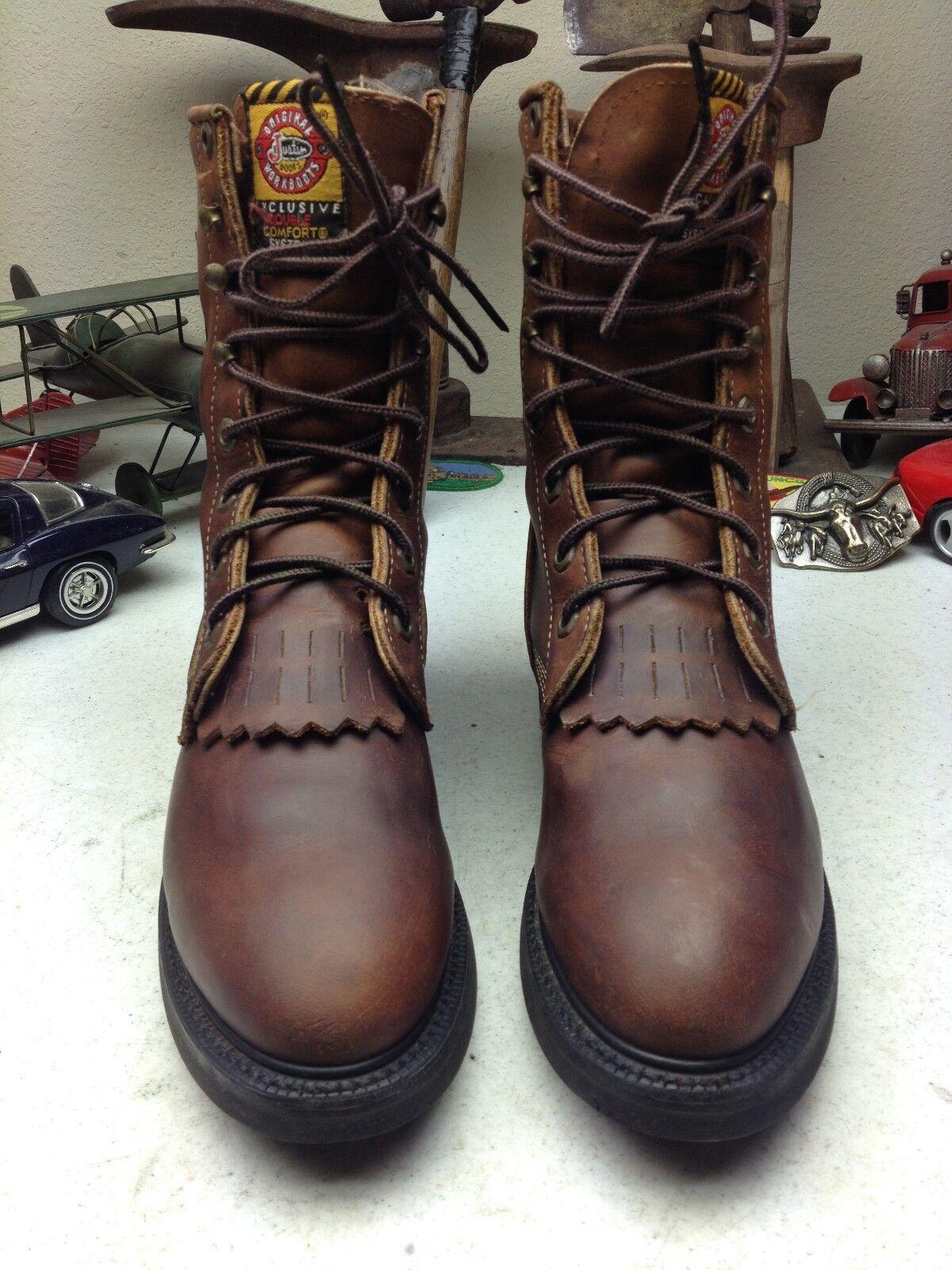 Justin envejecido Usa Vintage Marrón Cuero Lacer Trail botas 7.5 B