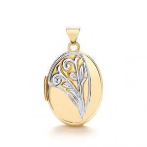 9-Karat-zweifarbig-Gold-raffiniert-gemustert-ovalen-Medaillon