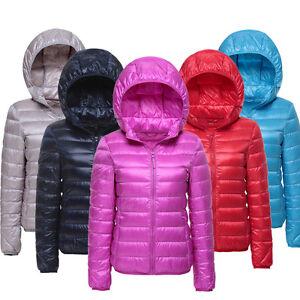 Womens 90% Duck Down Puffer Ultra Light Water Resistant Hoodie Jacket Coat NWT