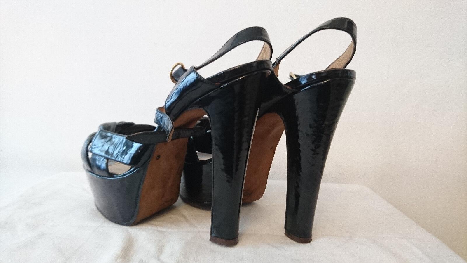 Sandales des années 1980 - - - Vernis Noir -  GUIDO DE CAROLIS  Italie    - T.39,5 e5cf8d