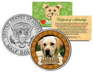 LABRADOR-RETRIEVER-Dog-JFK-Kennedy-Half-Dollar-US-Colorized-Coin