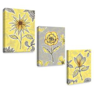 Yellow And Gray Canvas Wall Art.Details About Sumgar Canvas Wall Art Flowers Yellow And Gray Framed Floral Modern Prints For