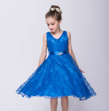 1dd053ca4ad Girls Kids Toddler Baby Lace V-neck Dress Party Wedding Flower Girl Dress  ZG8