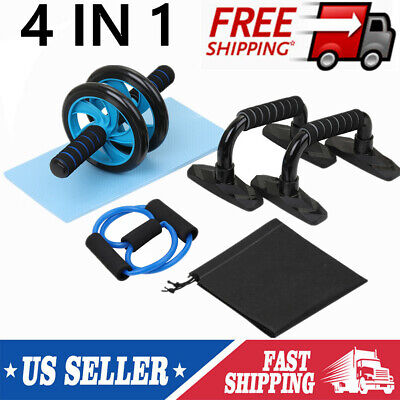 4In1 Ab Wheel Roller Kit Set Portable Equipment Push Up Bar Home Workout Gym USA