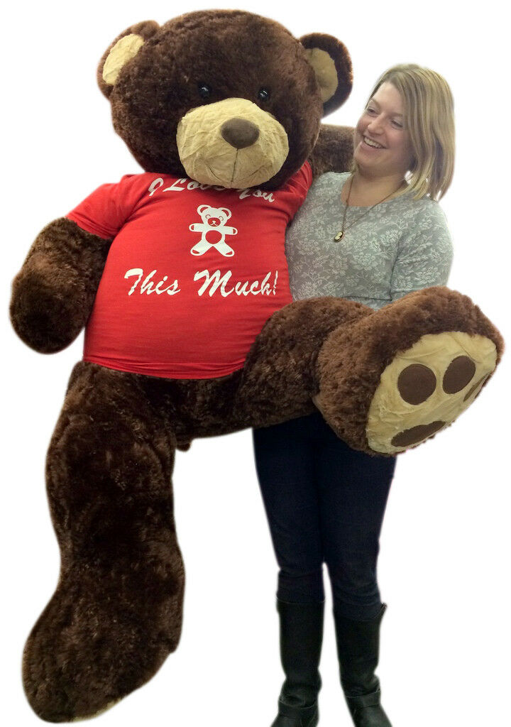 5 Foot Giant Teddy Bear Huge Soft marrone 60 Inch, T-shirt I LOVE YOU THIS MUCH