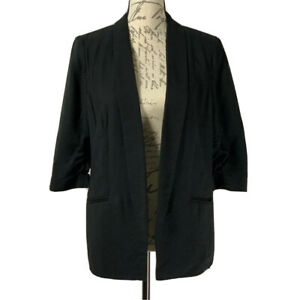 LC Lauren Conrad Blazer NWOT Black Jacket 3/4 Ruched Sleeves Size 8 Medium