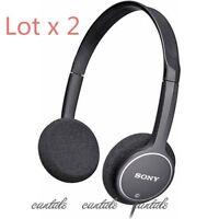 2x Genuine Sony MDR-222KD Lightweight Childrens Student stereo Headphones Black