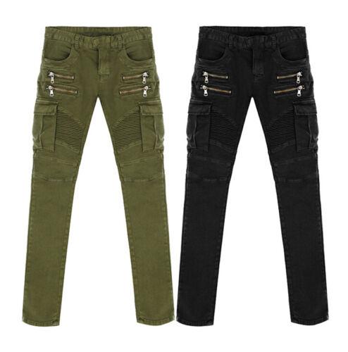 Fashion Slim Men Skinny Straight Elastic Denim Pants Destroyed Ripped Jeans