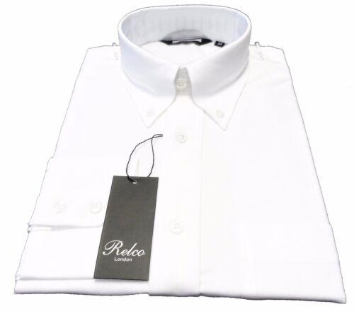 40b702f3 Down Retro Button Shirts Oxford Sleeved White Relco Ladies Short wXvRUvq