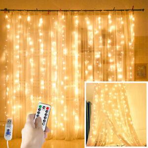 300-LED-Fata-Stringa-Luci-Per-Tende-Da-Appendere-Natale-Festa-Matrimonio-Home-Decor