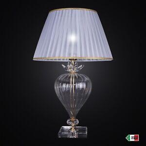 Lume-Classico-da-Tavolo-in-Cristallo-con-Paralume-Plisse-Design-Swarovski