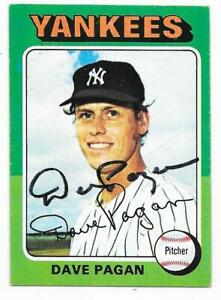 DAVE PAGAN 1975 TOPPS AUTOGRAPHED SIGNED # 648 NEW YORK YANKEES