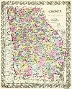 Old State Map Georgia Colton 1855 23 X 28 19 Ebay