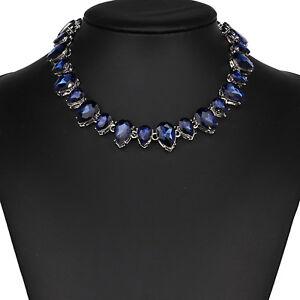 Strass-blau-Tropfen-Glamour-Design-Kette-Halskette-Collier-Silber-plattiert-neu