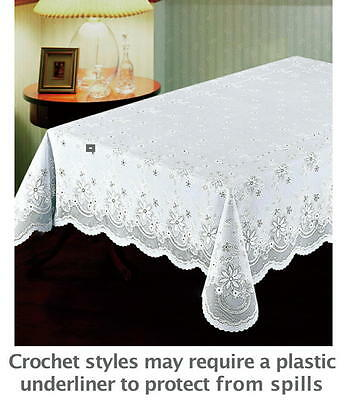 "#095 Next Generation Vinyl CROCHET Tablecloth 54""x 72"" WHITE-Washer/dryer safe"