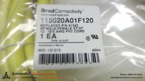 BRAD CONNECTIVITY 115020A01F120, CORDSET, 5 POLE, M/F, ST/ST, 12 FOOT, N #106687