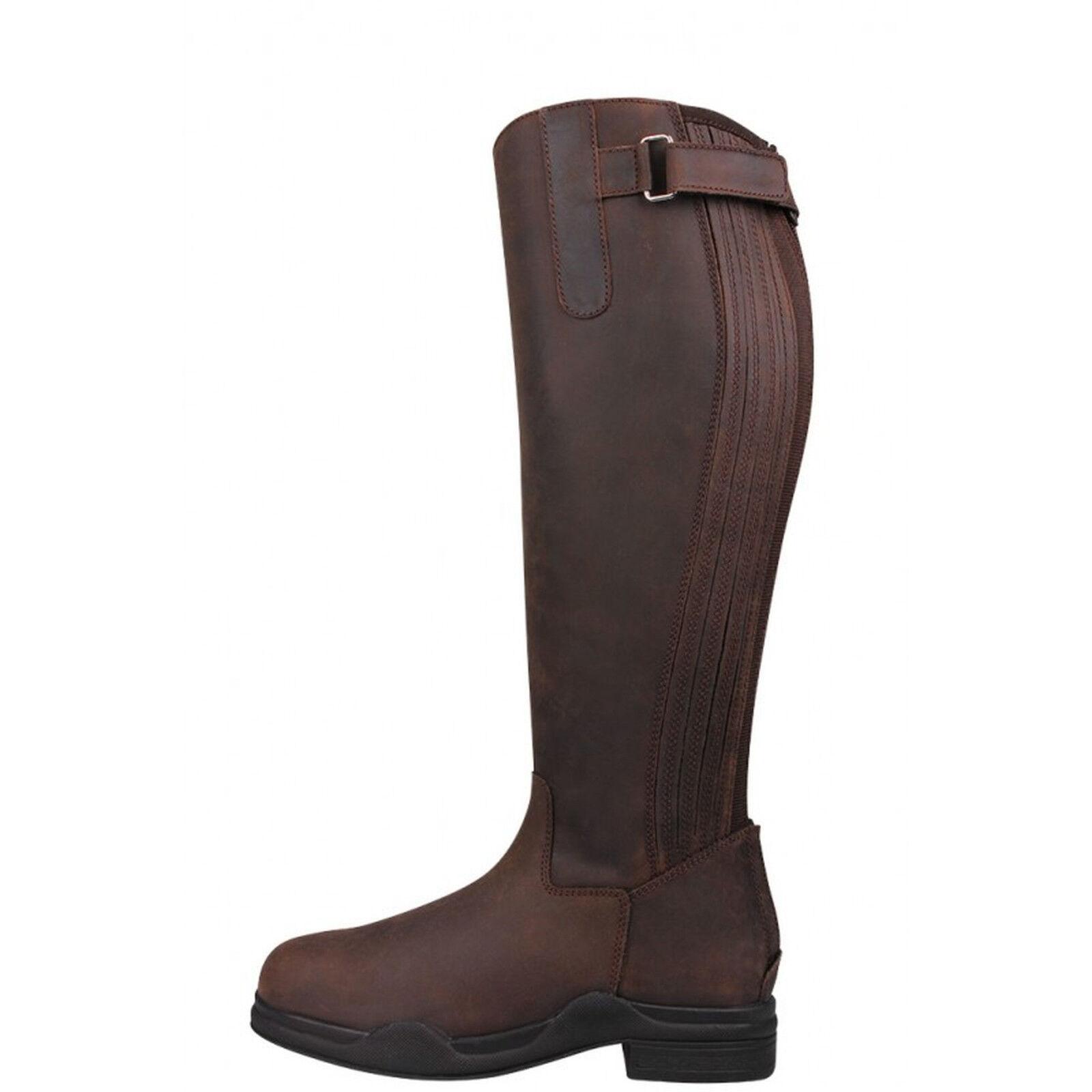 QHP damen Leather Riding Stiefel Lyn Summer Leather Dark braun Größe 38 + 39