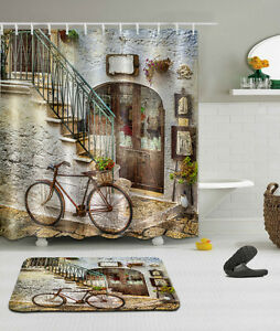 Old-House-Bicycle-Shower-Curtain-Bathroom-Mat-Waterproof-Fabric-Set-72-034-79-034-2225