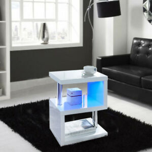 Details About Coffee Table High Gloss Modern White Sideboard Living Room Led Side End Table