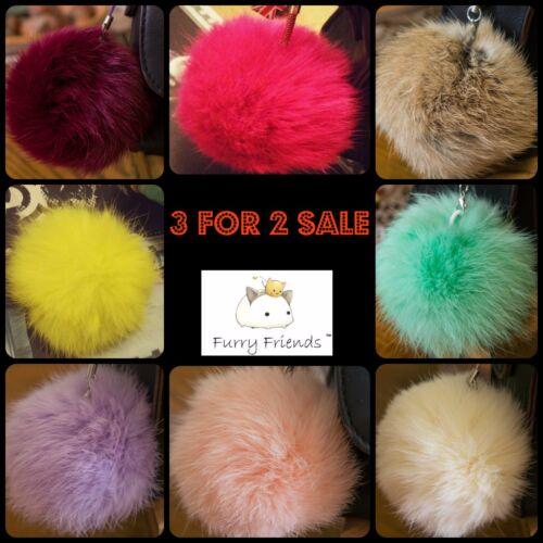 Fur PomPom Keyrings Women/'s Key Chain 8cm Fur Bag Charm Decoration Navy Clothes