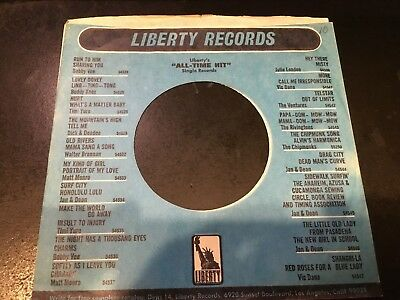 """Music The Best Liberty Record Company Sleeve For 7"""" 45's Vg+"""