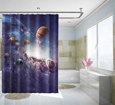 3d Planets Galaxy 72 Shower Curtain Waterproof Fiber Bathroom Windows Toilet Complete In Specifications Shower Curtains
