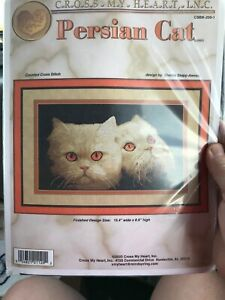 Persian Cat Counted Aida Cross Stitch Kit  Cross My Heart Retired 15.4 X 8.9