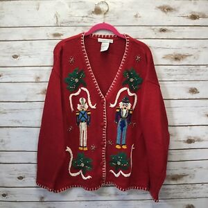 Victoria-Jones-Large-UGLY-Christmas-Red-Nutcracker-Beaded-Sweater-Cardigan