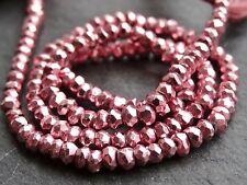 """HAND Sfaccettato Colore Magenta rivestito PIRITE Rondelle, 3.5mm, 13"""", 120 Beads"""