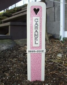 Dog Cat Pet Memorial Headstone Grave Marker With Lifespan/Date Line - 11 colors