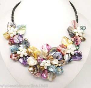 Stunning-Multicolor-Freshwater-Pearl-Sea-Shell-Flower-Leather-Necklace-18-034