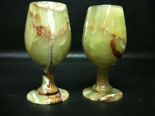 1 PAIR MARBLE ONYX  GREEN GLASSES