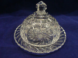 Image Is Loading Vintage Hand Cut Crystal Cheese Dome And Plate