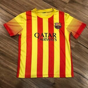 d82669e2d41 FCB Lionel Messi Striped  10 Soccer Jersey Youth Barcelona Qatar ...