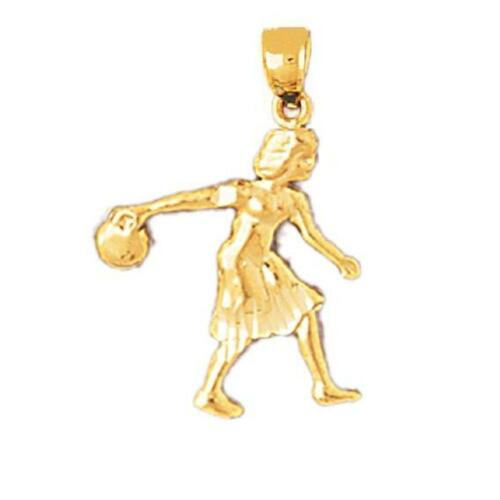 made in USA 14k or Jaune Bowling Player Pendentif//Charme