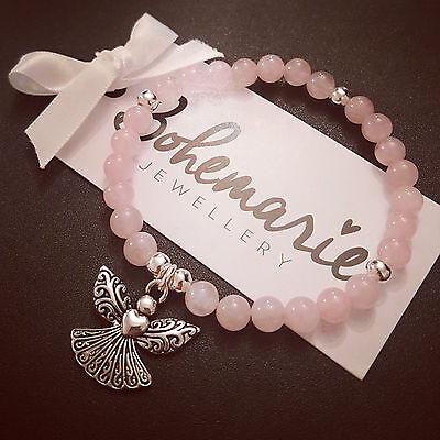 Rose Quartz guardian angel bracelet gemstone protection bijoux jewellery boho