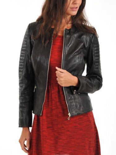 Slim Fit New Brand Lambskin Jacket Women's Genuine Motorcycle Leather W0PBTFS