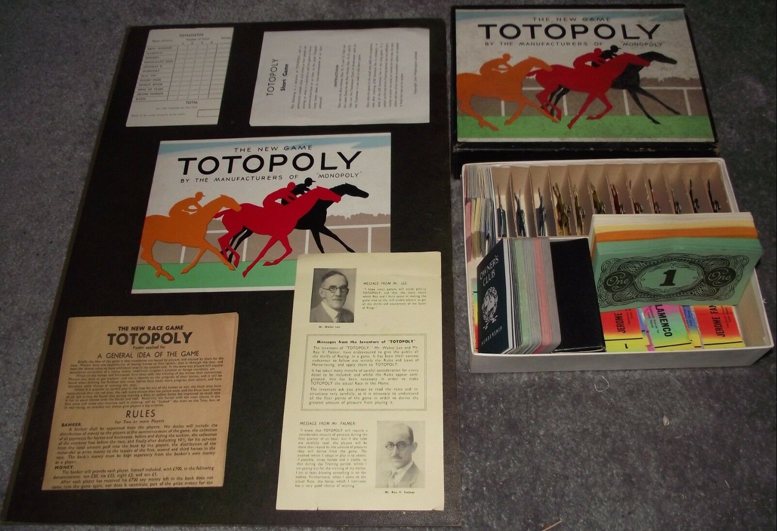 SUPERB UNIQUE 1939 WADDINGTONS THE NEW GAME TOTOPOLY UNPLAYED CONTENTS MIB