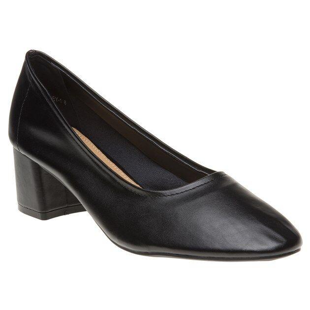 New Womens SOLE Black Gloria Pu Shoes Mid Heels Slip On