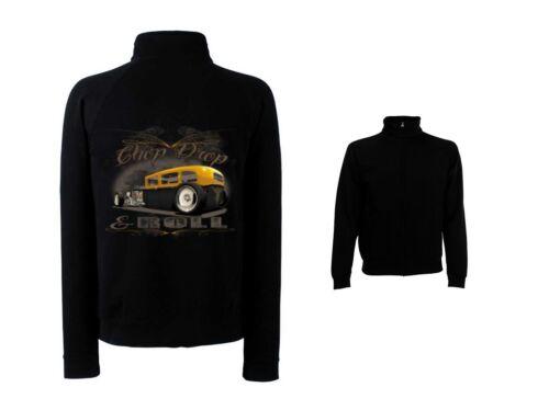US Car /&/' 50 STYLE Motivo Modello Chop Drop /& Roll Giacca in Felpa Nero Hot Rod-