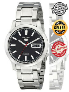 Seiko-5-Automatic-SNK795-SNK795K1-Men-039-s-Black-Dial-Day-Date-Steel-Watch