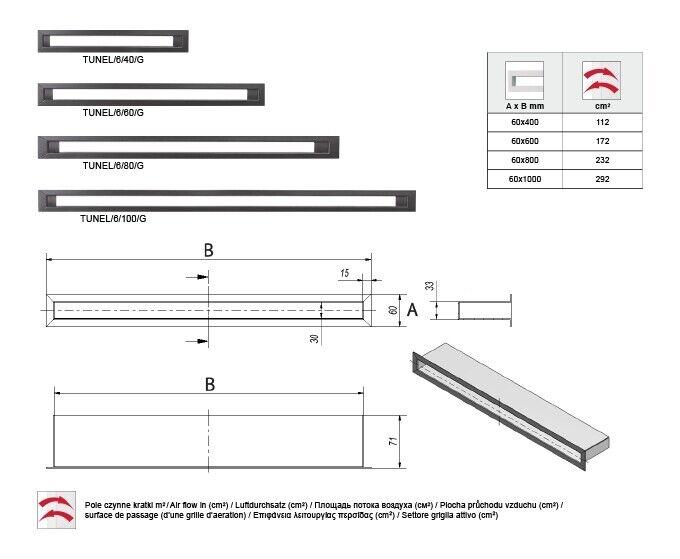 Luftleiste Ventilationsrahmen Lüftungsgitter Lüftungsgitter Lüftungsgitter Kamingitter schwarz 60x1000 mm d9f487